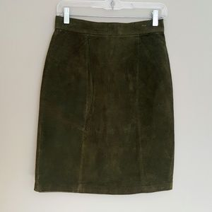 BB Dakota Genuine Leather Straight Olive Skirt
